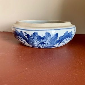 Antique Blue Chinese Glazed Ceramic Dish